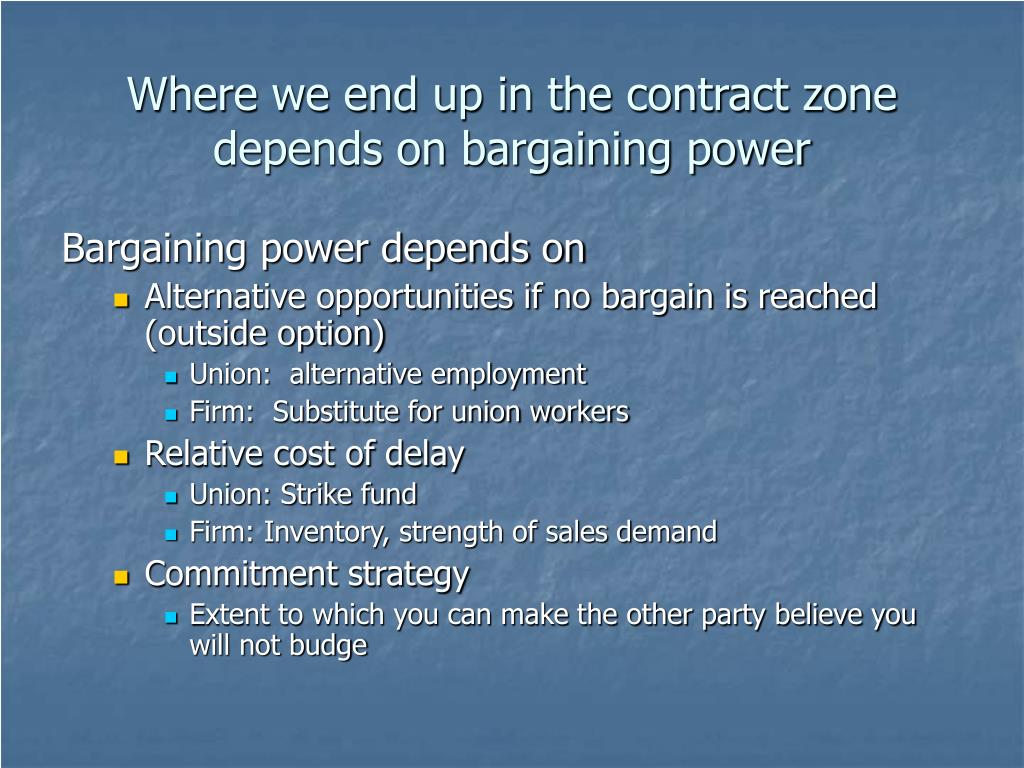 Where we end up in the contract zone depends on bargaining power