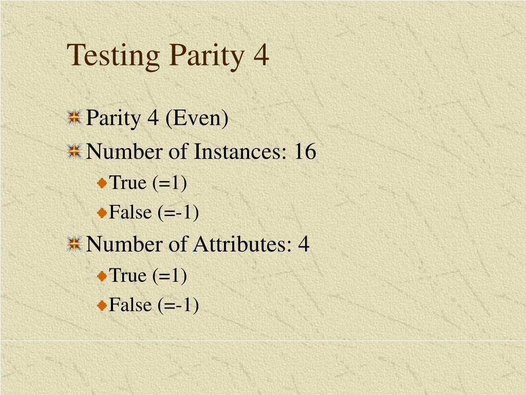 Testing Parity 4