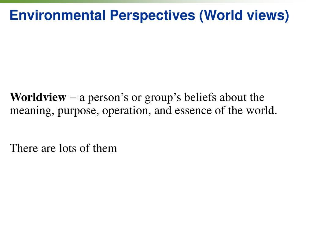 Environmental Perspectives (World views)