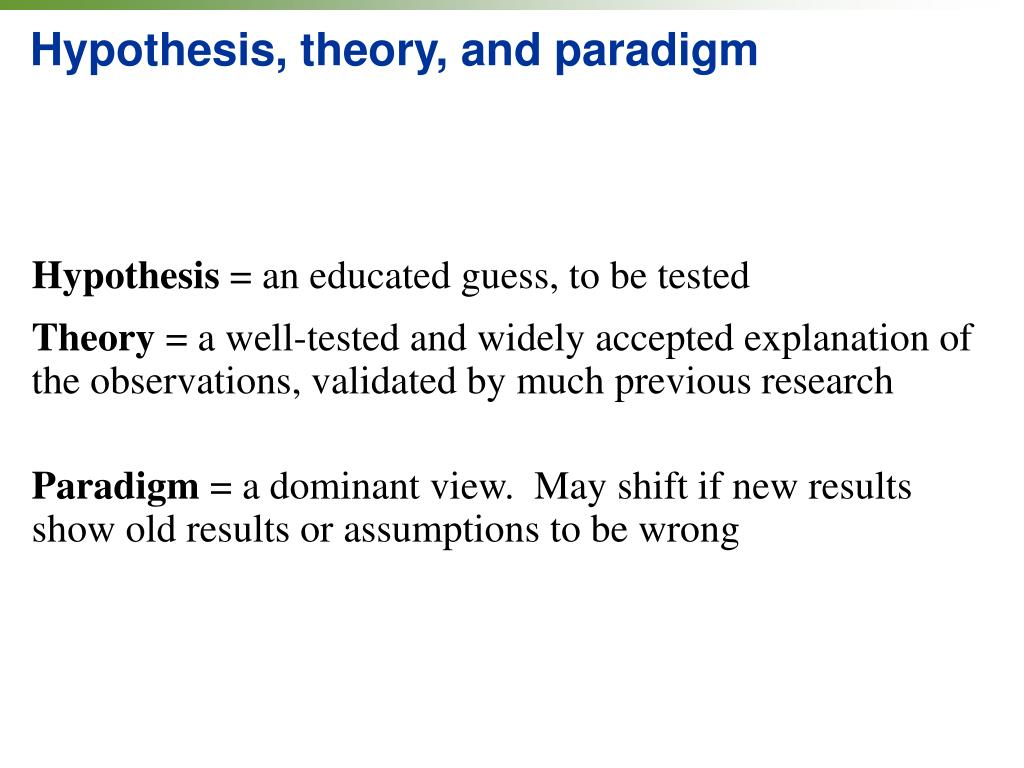 Hypothesis, theory, and paradigm