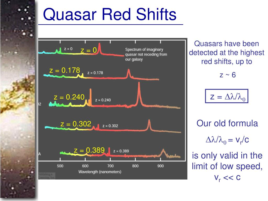 Quasar Red Shifts