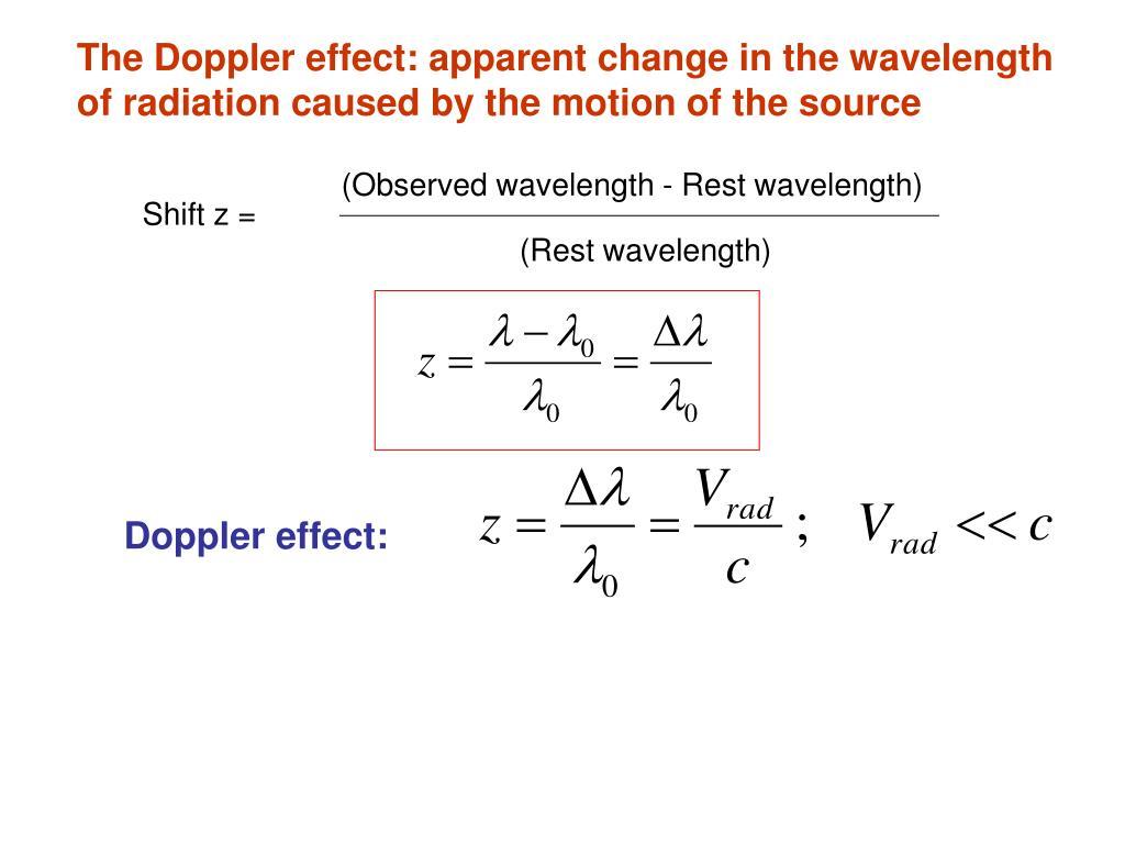 (Observed wavelength - Rest wavelength)
