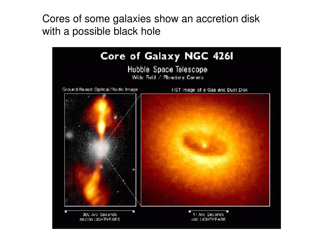 Cores of some galaxies show an accretion disk with a possible black hole