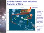 summary of post main sequence evolution of stars