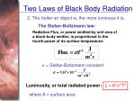 two laws of black body radiation21