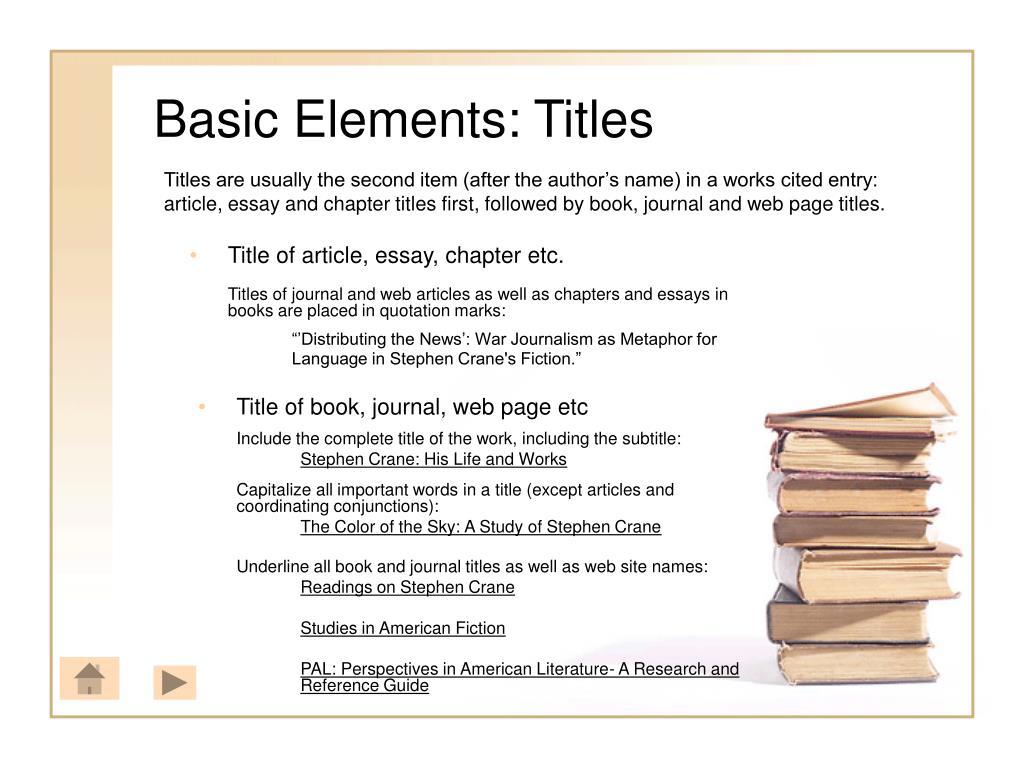 Basic Elements: Titles