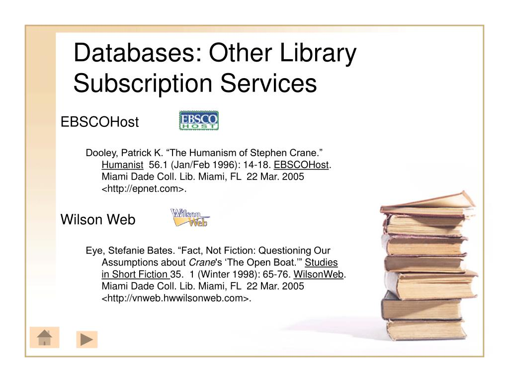 Databases: Other Library Subscription Services