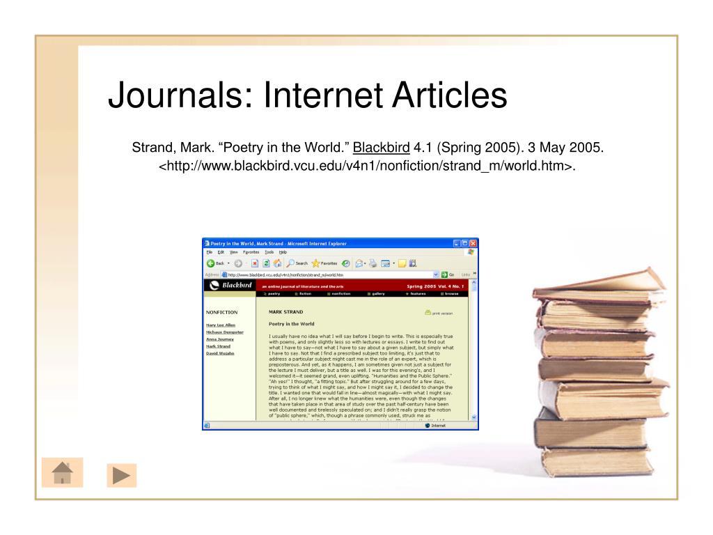 Journals: Internet Articles