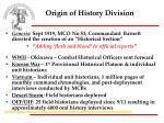 origin of history division