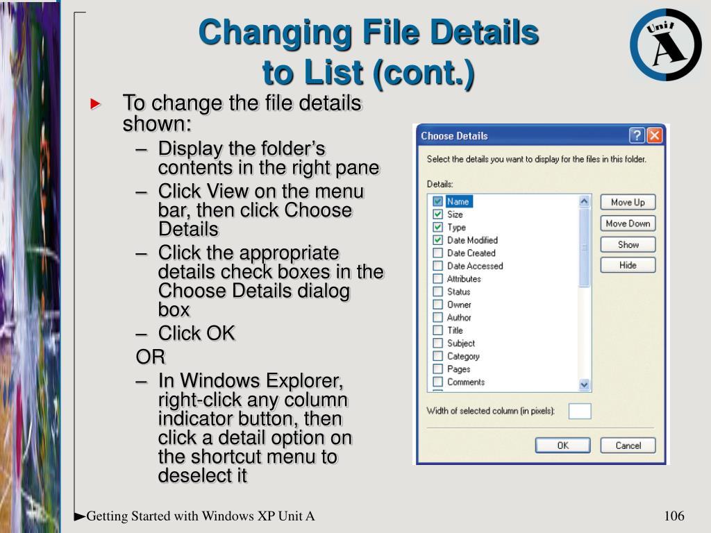 Changing File Details