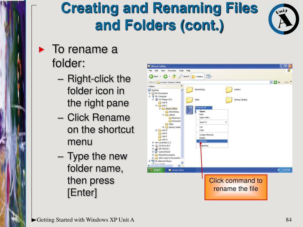 Creating and Renaming Files and Folders (cont.)