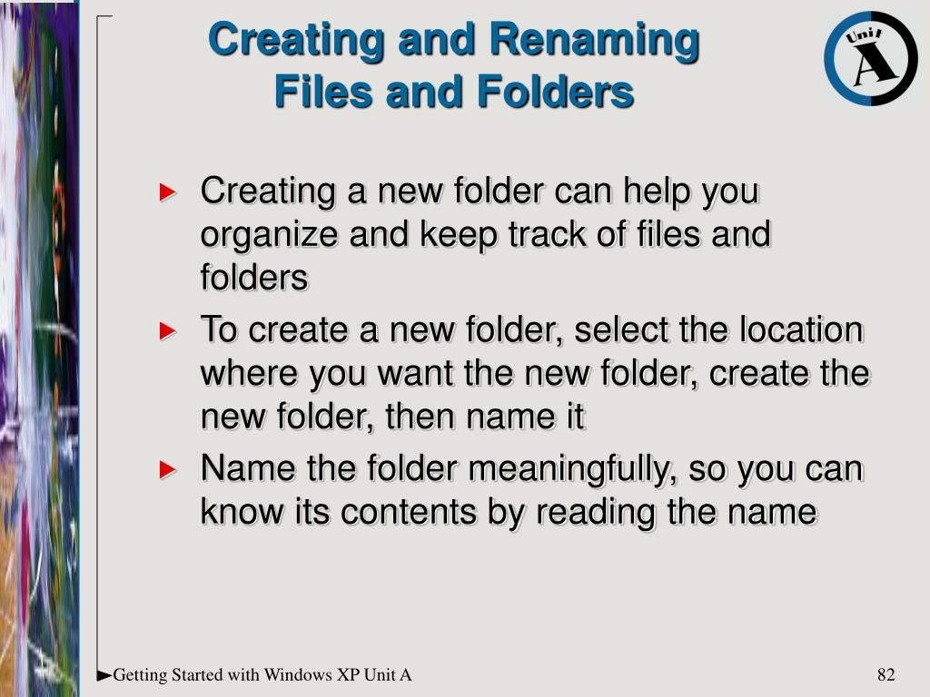 Creating and Renaming