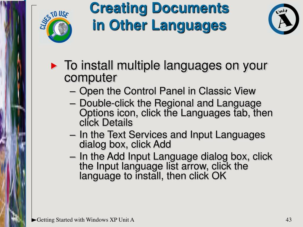 To install multiple languages on your computer