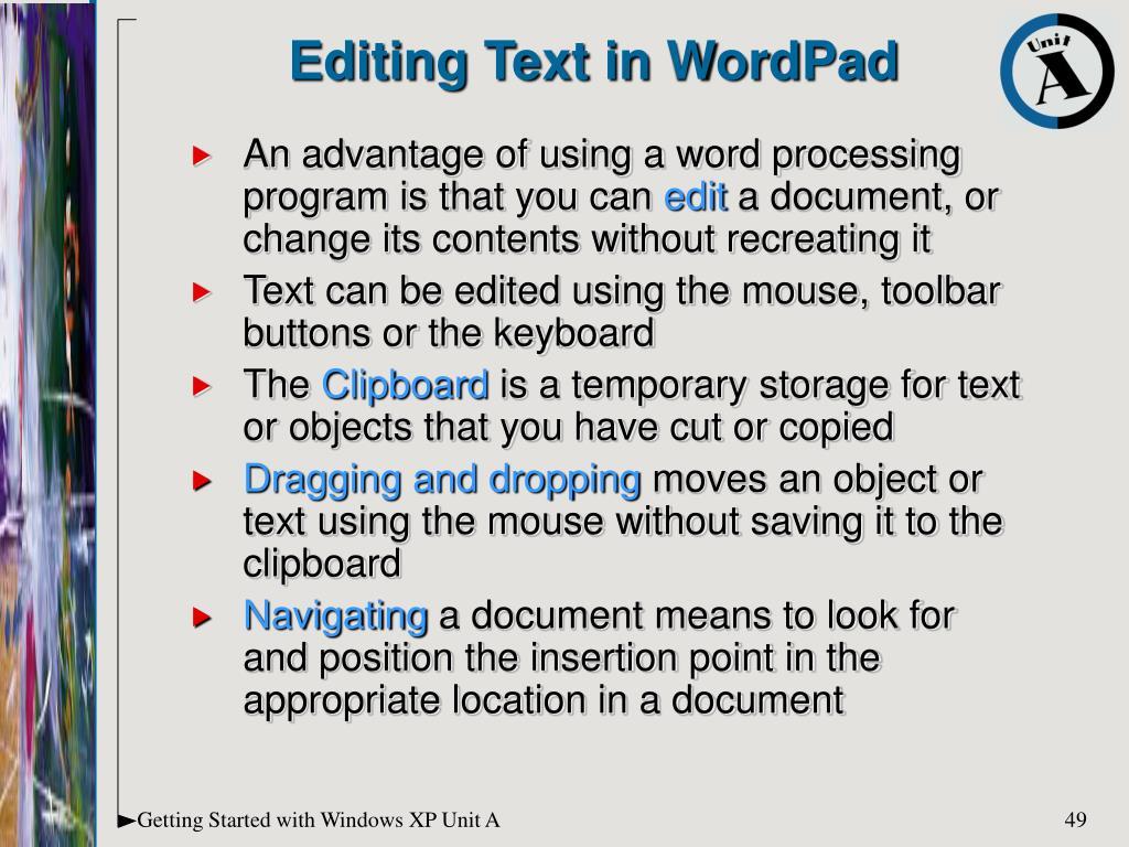 Editing Text in WordPad