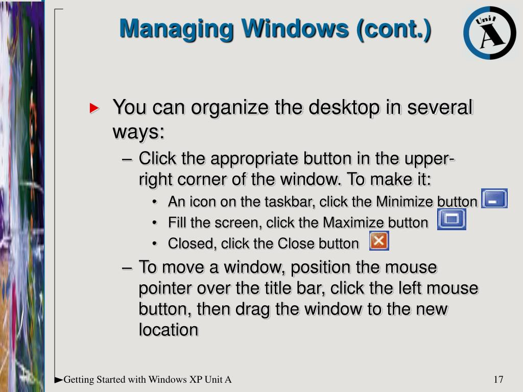 Managing Windows (cont.)
