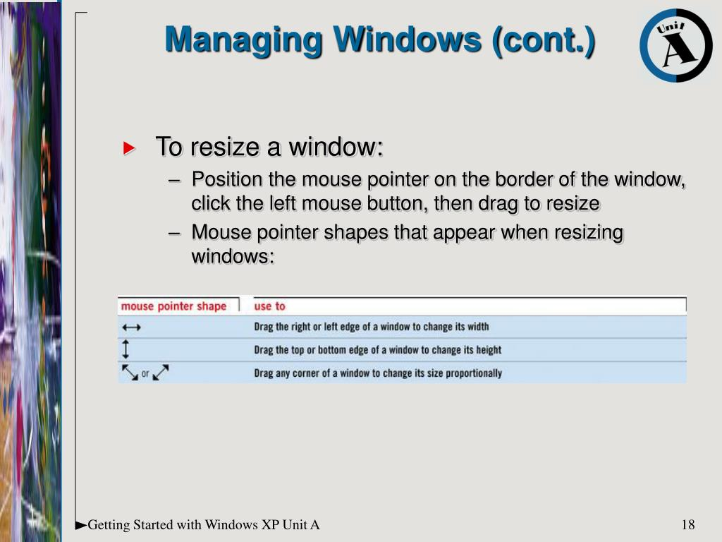 To resize a window: