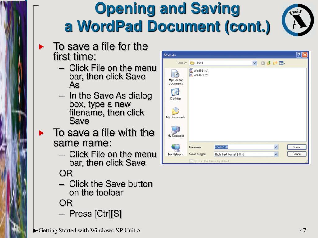 Opening and Saving