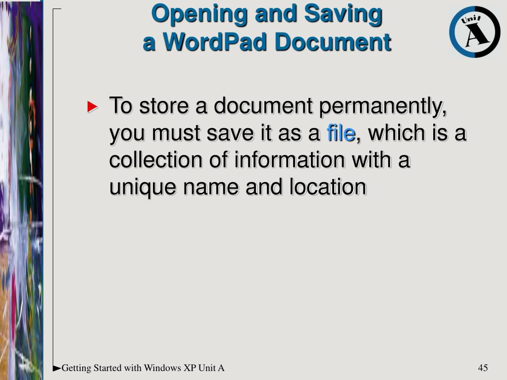 To store a document permanently, you must save it as a