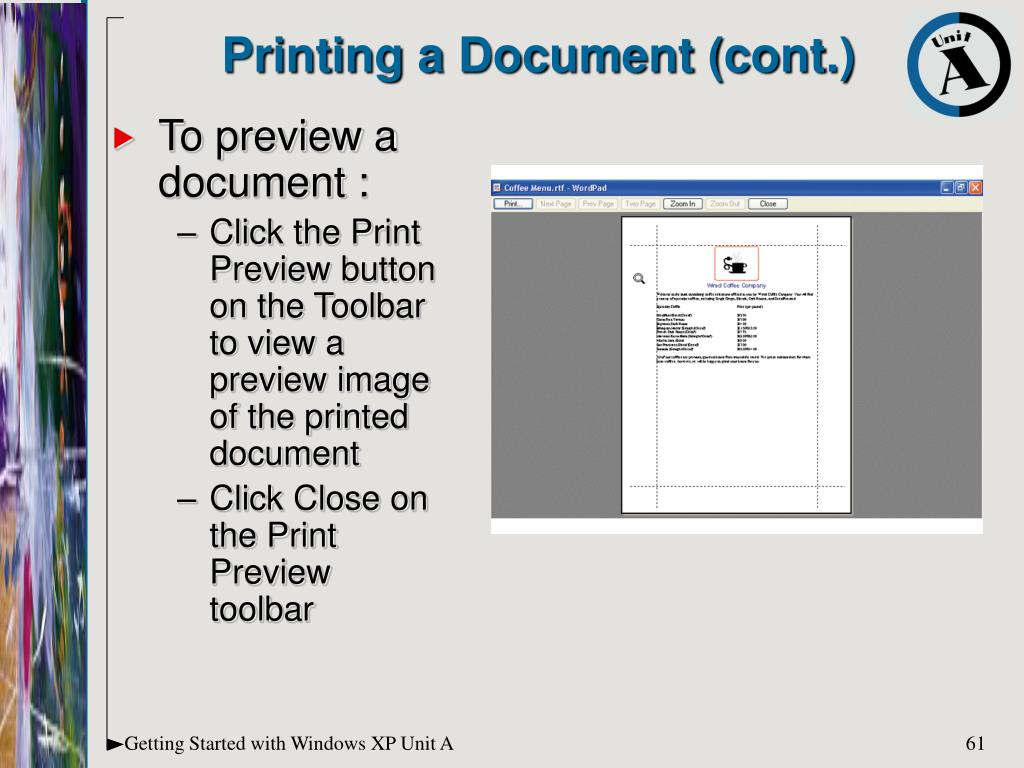 Printing a Document (cont.)