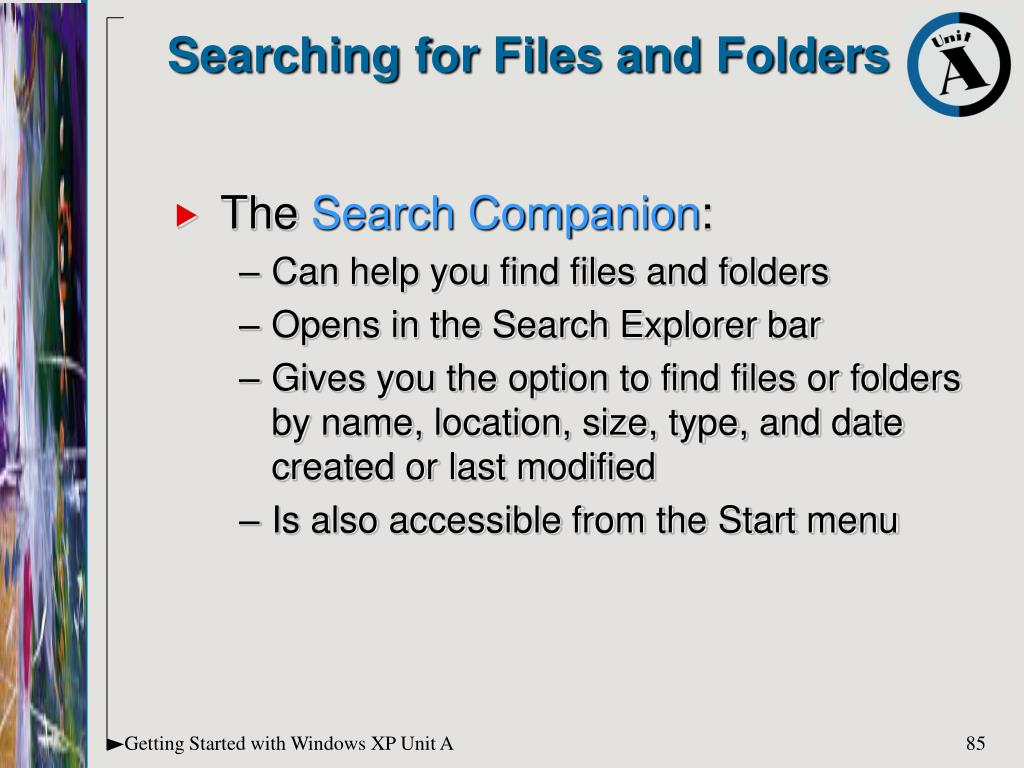 Searching for Files and Folders