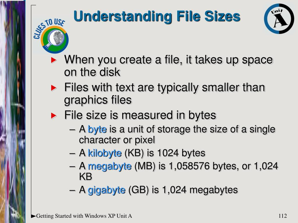 When you create a file, it takes up space on the disk