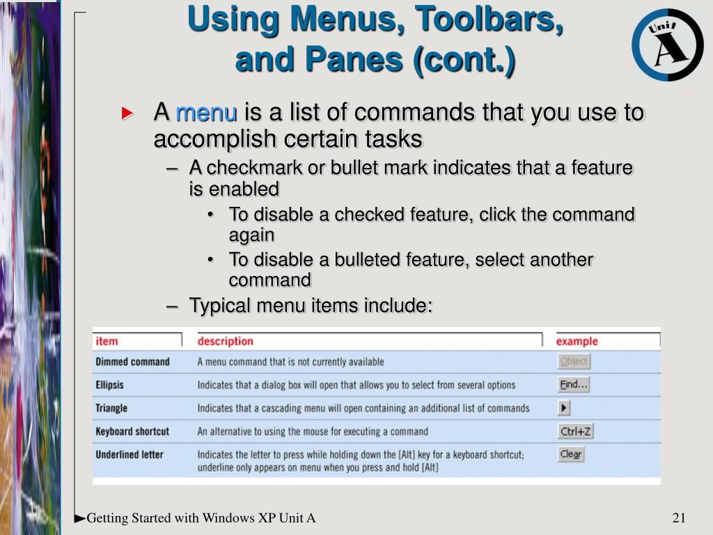 Using Menus, Toolbars,