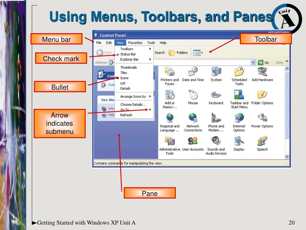 Using Menus, Toolbars, and Panes