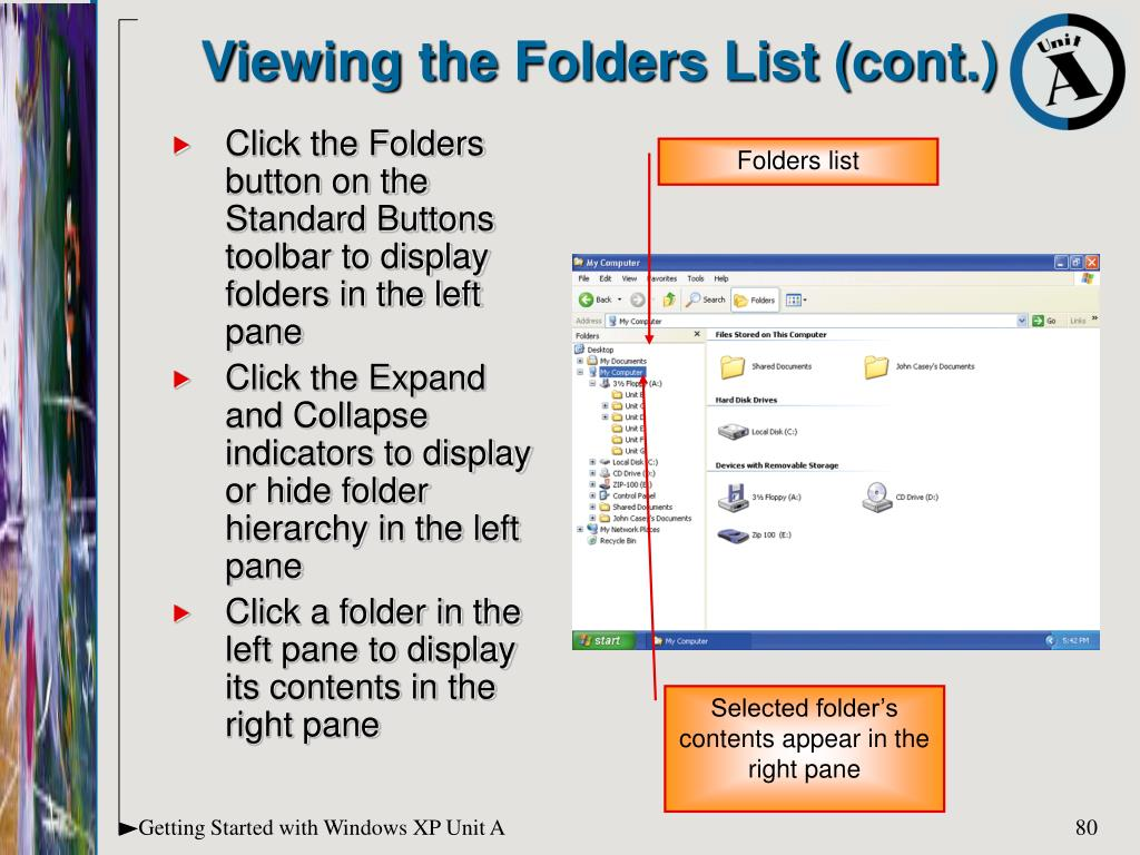 Viewing the Folders List (cont.)