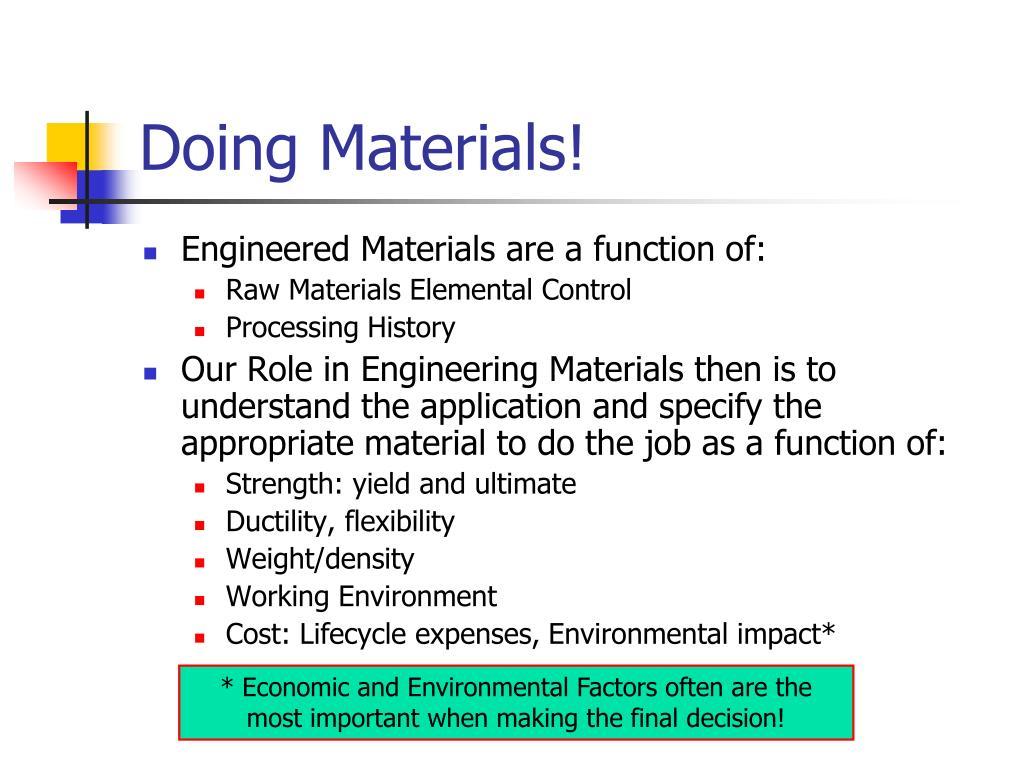 Doing Materials!