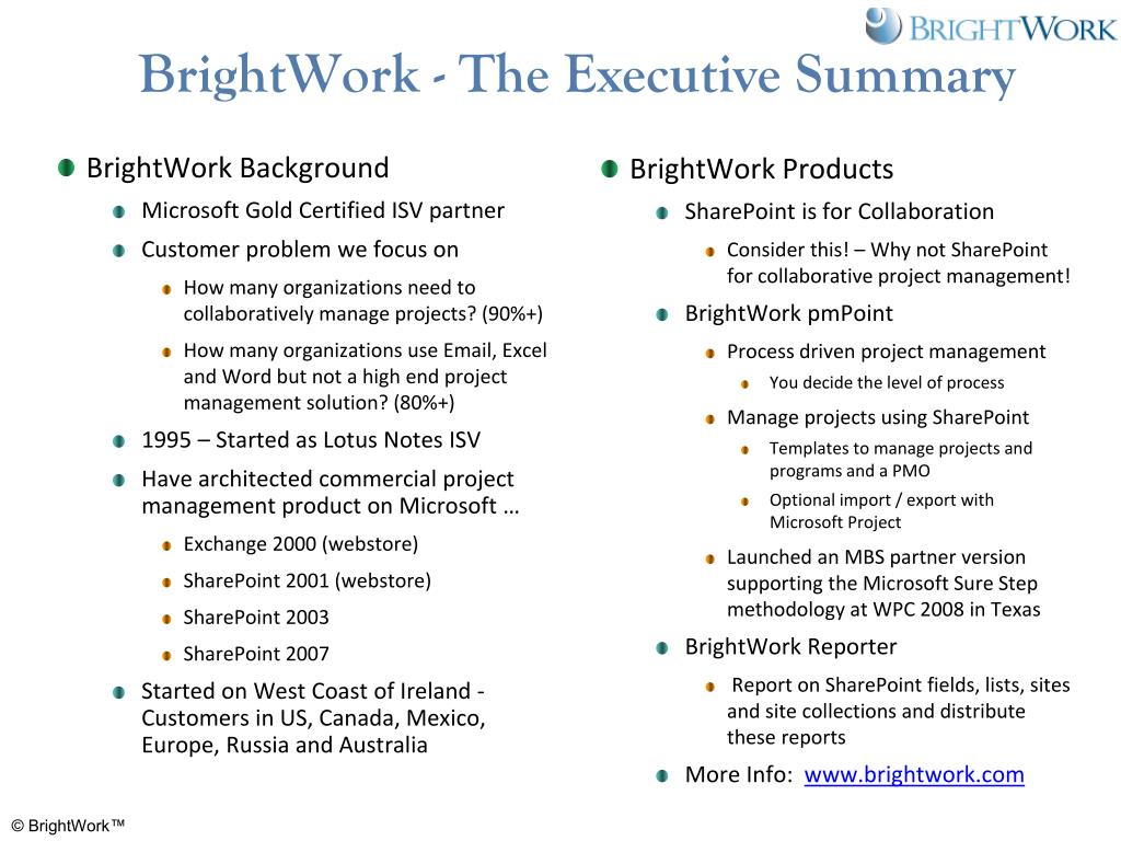 BrightWork - The Executive Summary