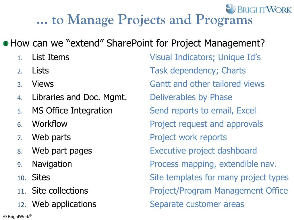 … to Manage Projects and Programs