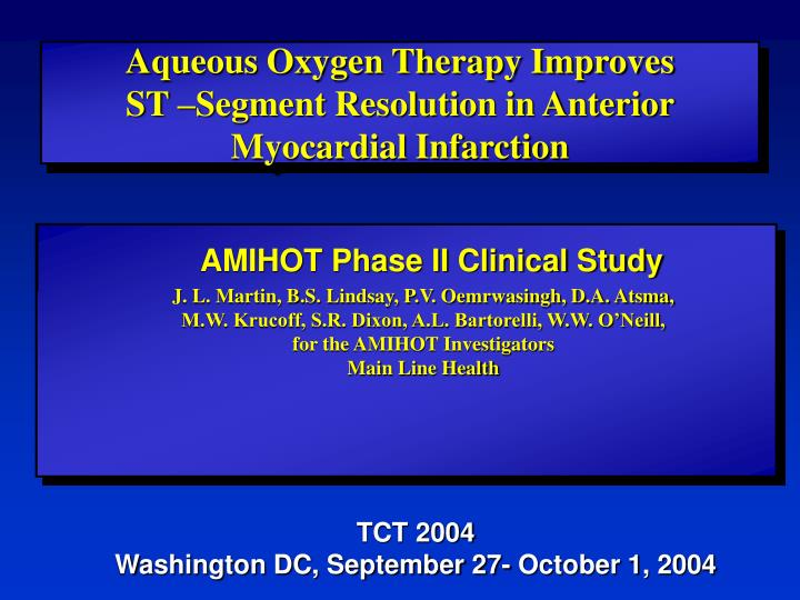 Aqueous Oxygen Therapy Improves