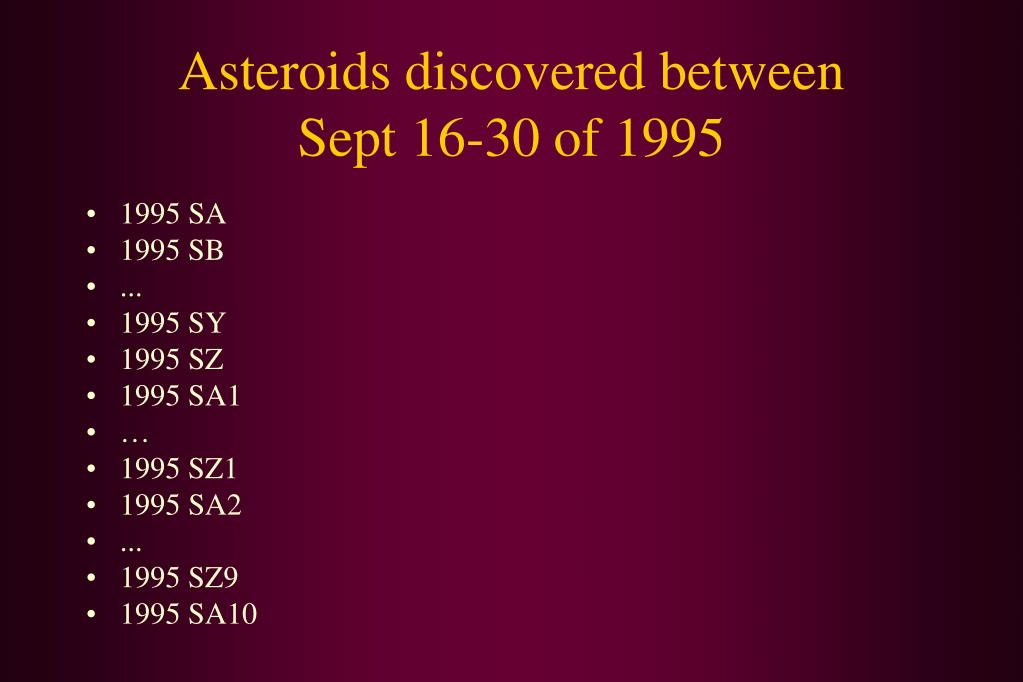 Asteroids discovered between