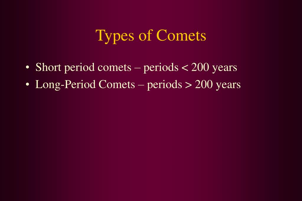 Types of Comets