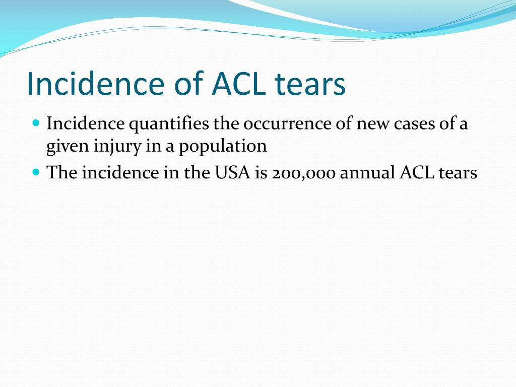 Incidence of ACL tears