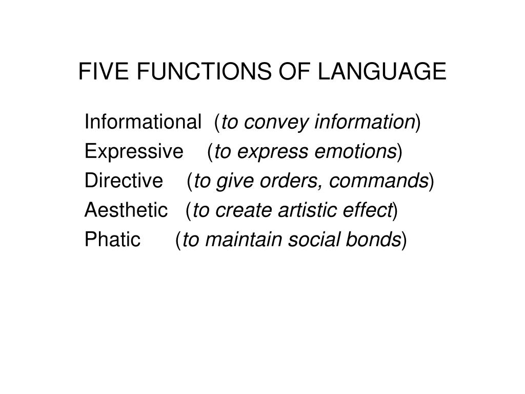 functoion of language Though there are two functions of language, simply function of language refers to communicative functions and here our major concern is to deal with main function of language, communicative function communicative function of language is the expressions of ideas, emotions, information, etc communicative function refers to communicative goal .