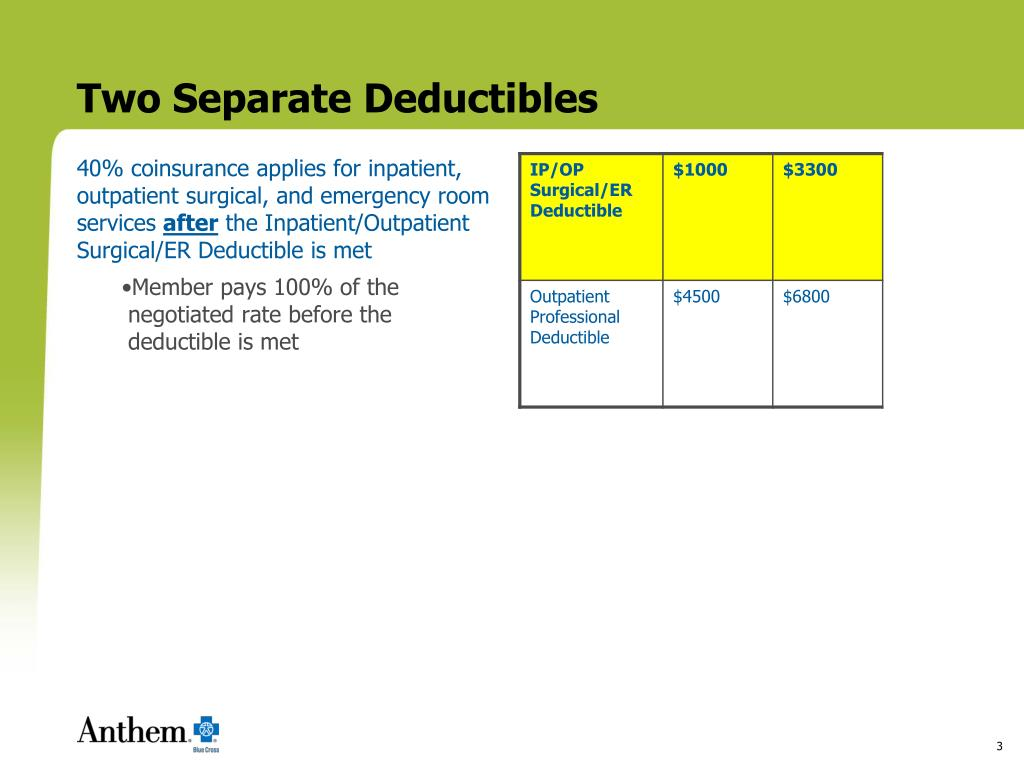 Two Separate Deductibles