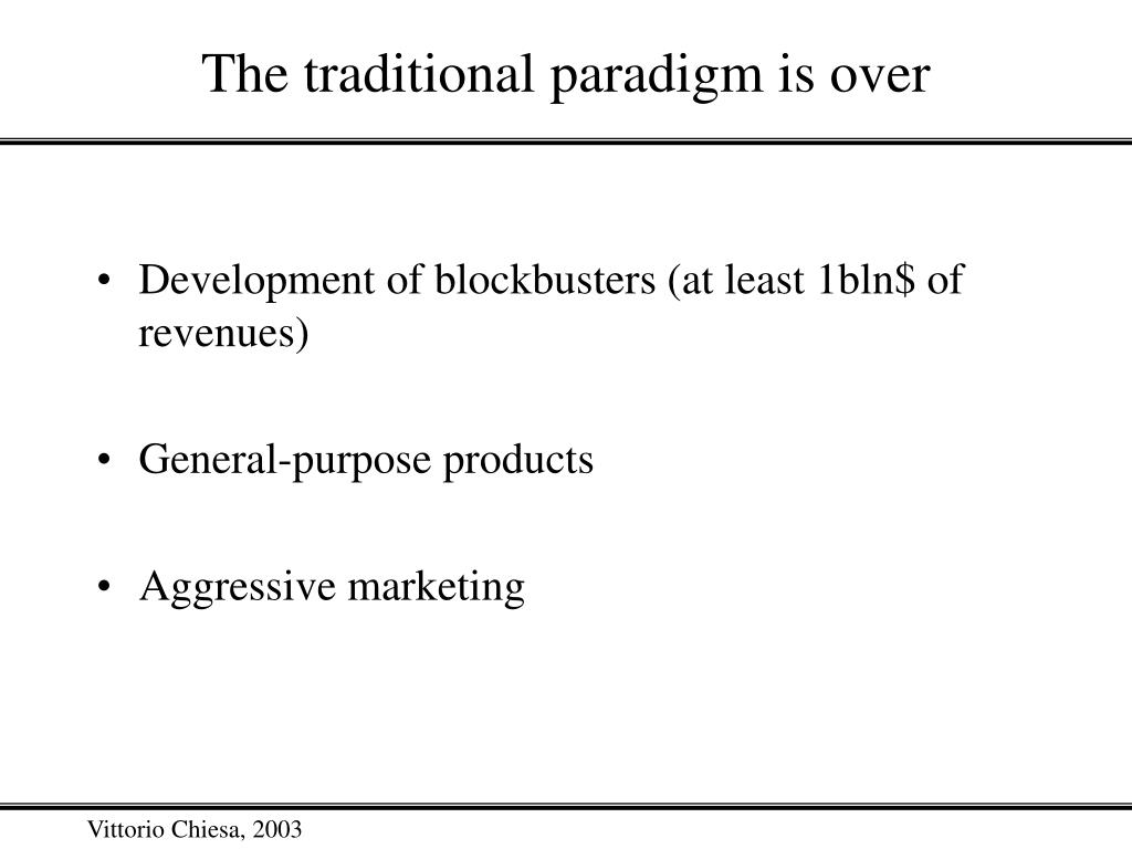 The traditional paradigm is over