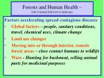 forests and human health link is human behavior in landscape