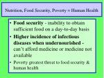 nutrition food security poverty human health