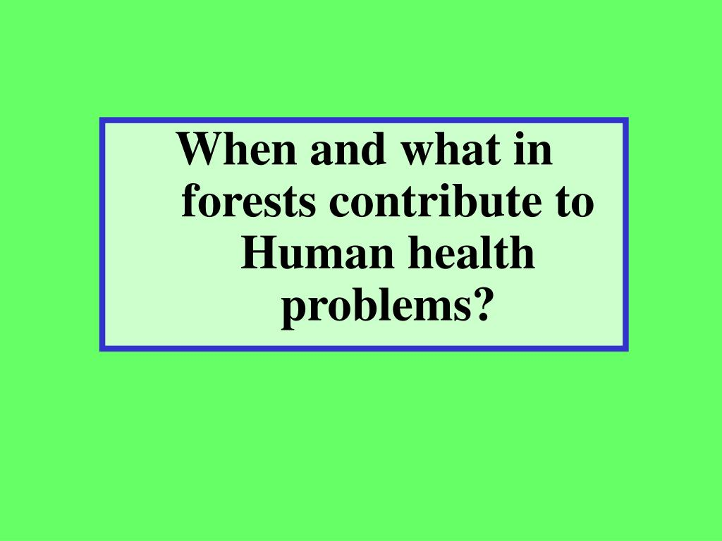 When and what in forests contribute to Human health problems?
