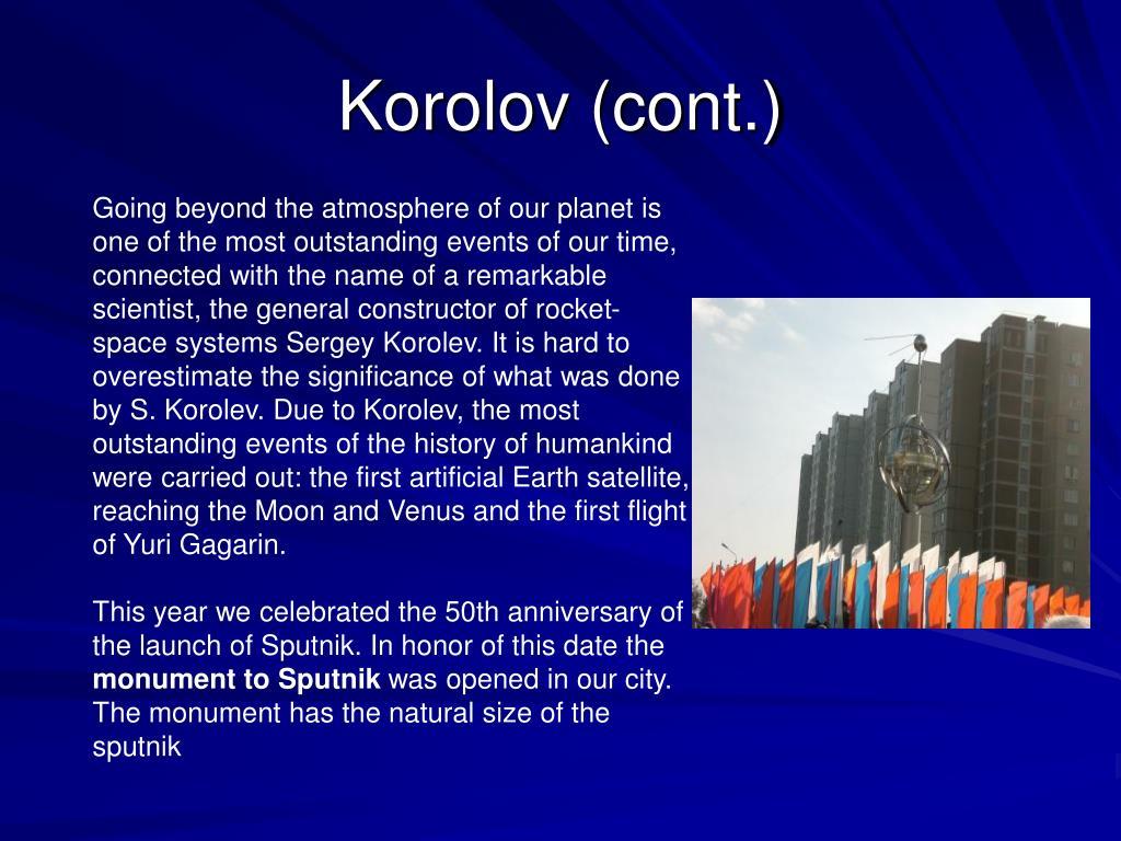 Korolov (cont.)