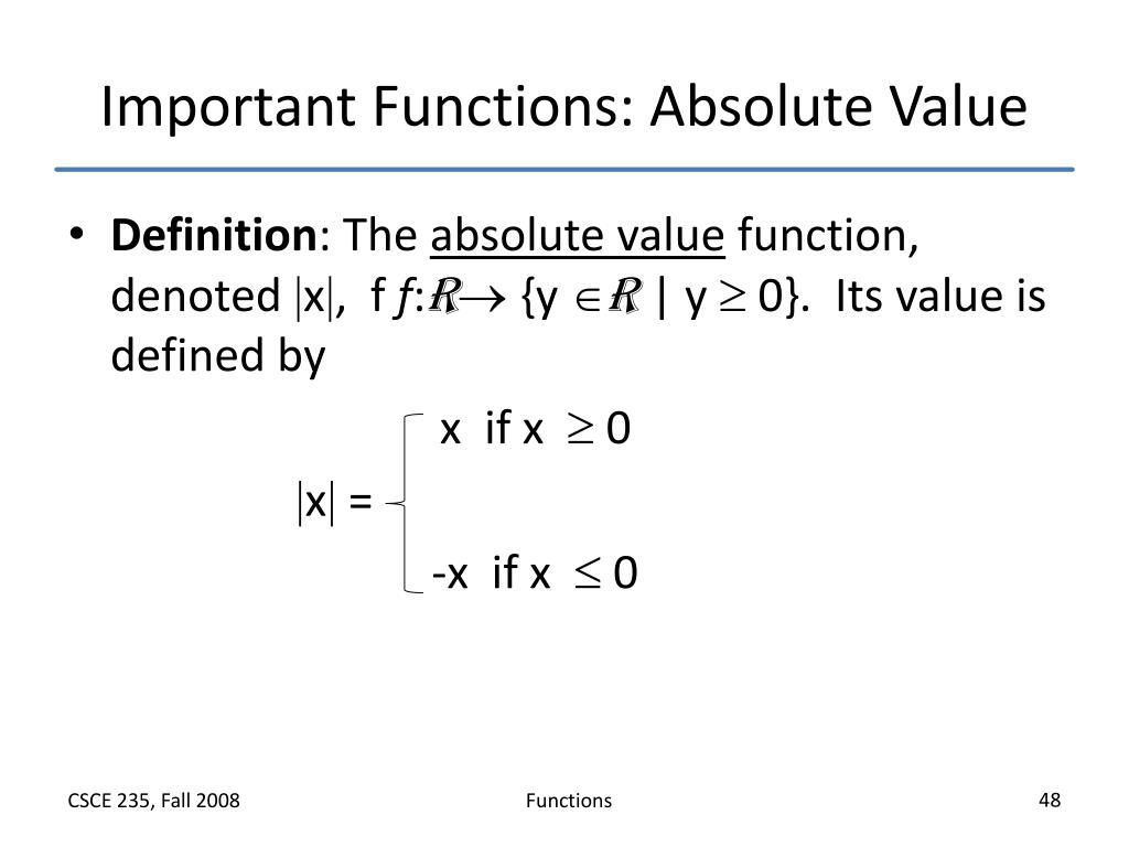 Important Functions: Absolute Value