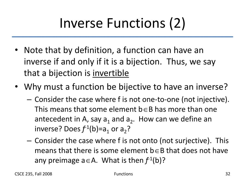 Inverse Functions (2)