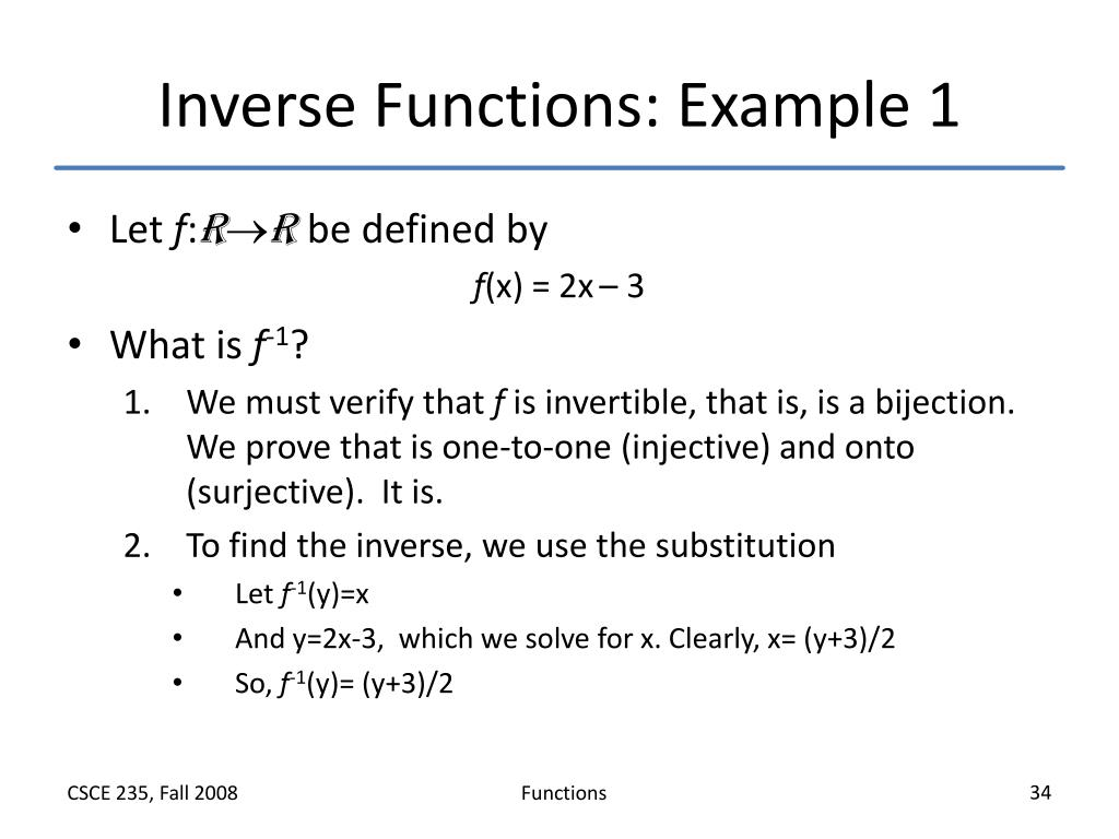 Inverse Functions: Example 1