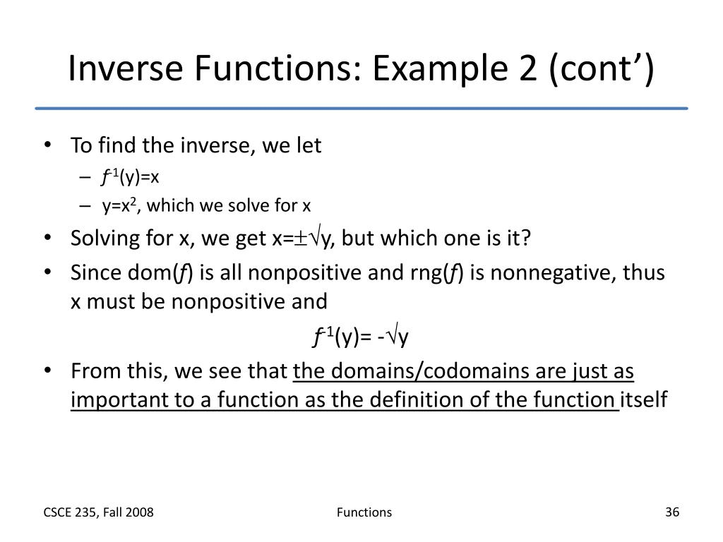 Inverse Functions: Example 2 (cont')