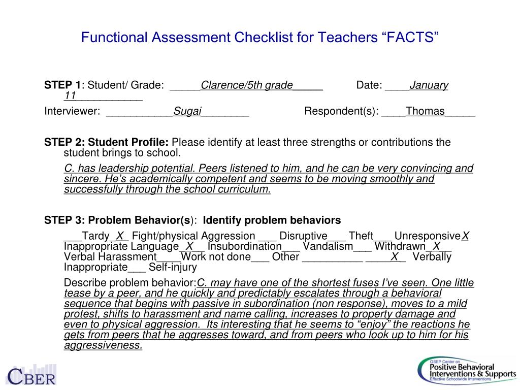 "Functional Assessment Checklist for Teachers ""FACTS"""