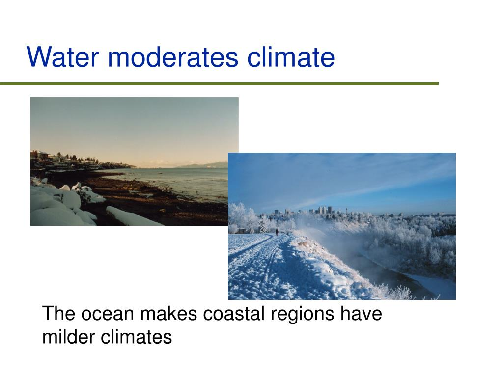 Water moderates climate