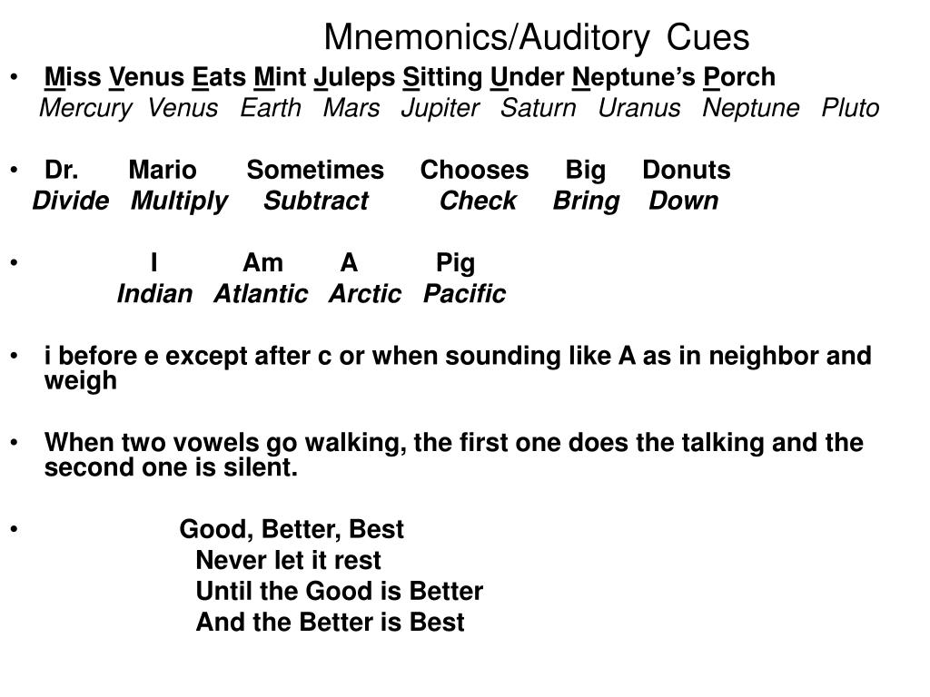 Mnemonics/Auditory