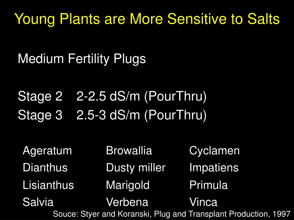 Young Plants are More Sensitive to Salts